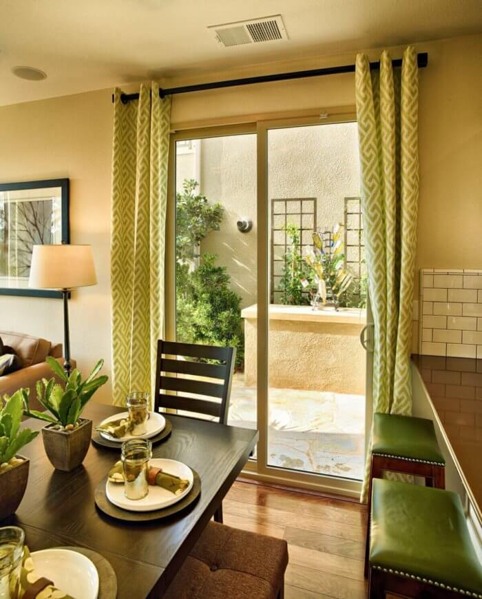 exterior glass door with curtains