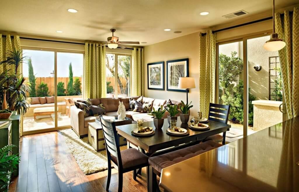 living room with exterior doors