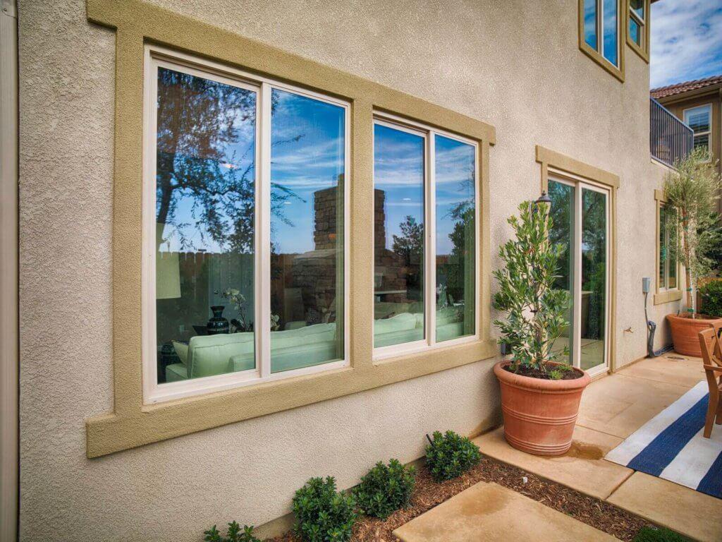 tall windows next to backyard door