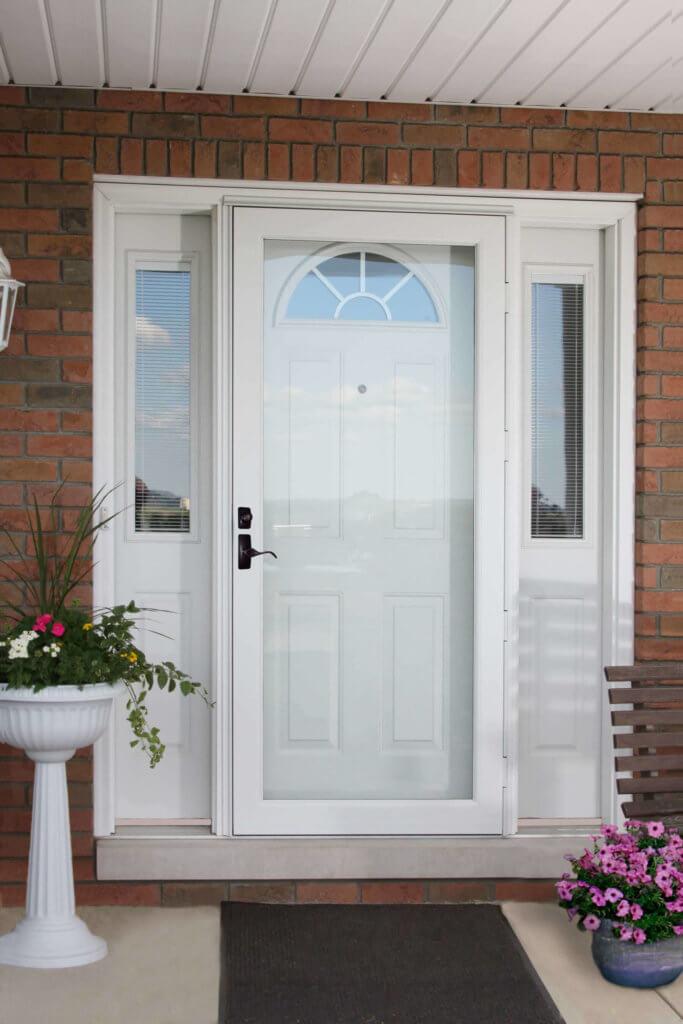 deluxe white door with side windows