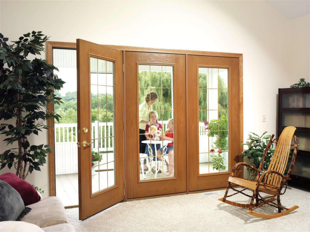 exterior door with family in background
