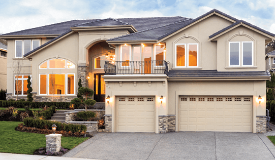 large home with different shape windows