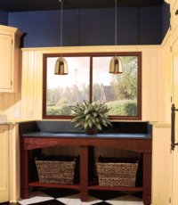luandry room with a window