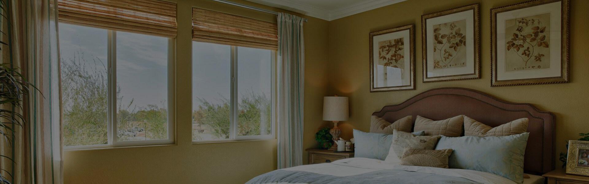 sliding windows in a bedroom