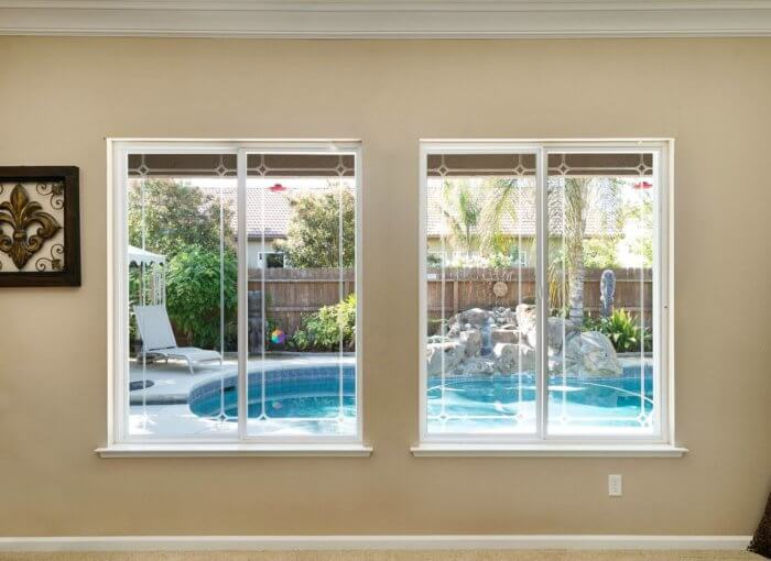 window leading to the pool area